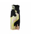 kleed zonder mouwen print zwart / geel