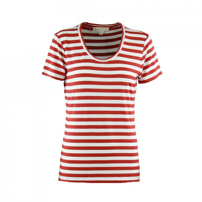 t-shirt korte mouwen streep brique