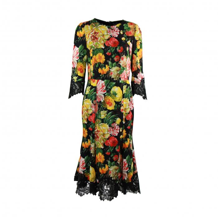kleed bloem/kant multicolor