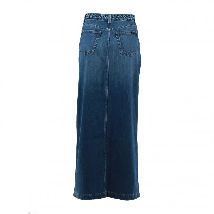 jeansrok lang knopen indigo