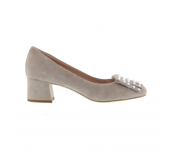 Schoen strass 4cm beige